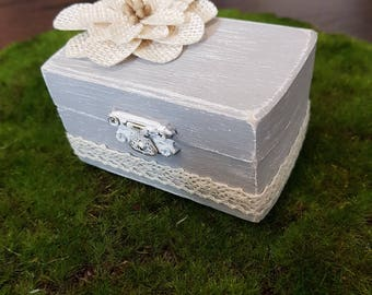 Rustic Wedding Ring Box - Antique Finish - Lace - Flower Accent