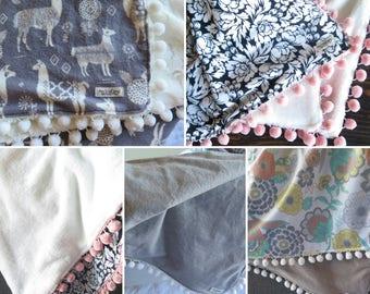 Custom Minky Baby/Toddler Blanket with Pom Pom Trim and Flannel Backing