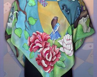 Silk Shawl Alice in Wonderland Batik scarf, Handmade silk scarf, Colorful scarf, Silk scarves for women, Big carf, hand painted scarf