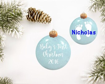 Baby's First Christmas Glitter Ornament Personalized