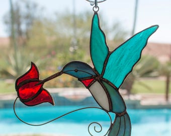 Beautiful Copper & Stained Glass Hummingbird Sun Catcher With Red Flowers - Great Gift for Hummer Lovers!
