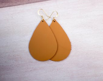 Mustard Teardrop Leather Earrings