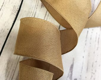 "100 Feet x 2.5"" Tan Woven Wired Ribbon"