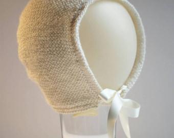 Handmade Knitted Girls Baby Bonnet in off white