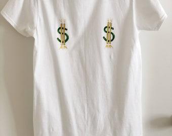 Lucky Money t-shirt Boobs shirt Titties top Funny shirt Dollar t-shirt Sexy t shirt Hand painted t-shirt Cotton Good luck top FREE SHIPPING