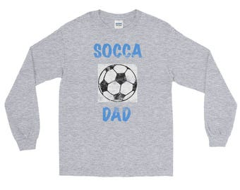Soccer Socca Dad Distressed All Jersey Knit Tee Shirt Long Sleeve T-Shirt