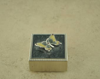 Vintage Silver Butterfly Box