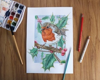 European Robin in Holly original watercolor painting