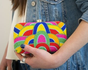 Beaded Clutch, Beaded Bag, Evening Clutch Purse, Crossbody Handbag, Yellow Bag, Pink Bag, Blue Bag, Glamorous Bead Bag, Multicolour Bag