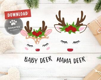 Reindeer Face SVG Bundle | Reindeer SVG | Baby Deer Face SVG | Mama and Baby Set Face Svg Christmas Svg Holiday Svg Clipart Family Shirt Dxf