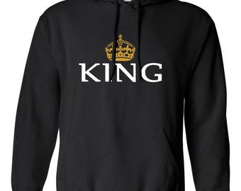 King with Crown Men Printed Hoodie Hooded Sweatshirt Designed Boyfriend Husband Gift Couple Goals