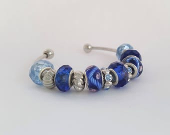 Blue and White Beaded Bracelet - Blue Crystal Beads - Gifts under 20 - Valentine's Birthday Teacher Gift - Gifts for Women - Mother's Day