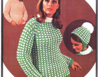 Vintage Crochet Pattern Womens Honeycomb Stitch Pullover Sweater & Hat PDF Instant Digital Download Retro 1969 Jumper Helmet Set