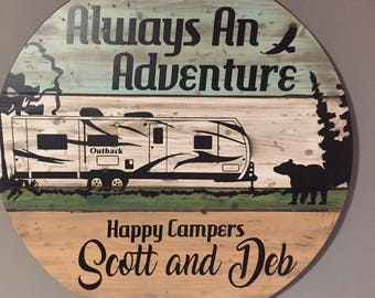 Custom camper sign! WICKED FOREST new design! totally custom sign unique awesome outdoor sign for camping vintage rv motorhome