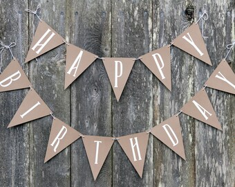 Happy Birthday Banner, Simple, White, Brown, Yarn Tassel, Twine