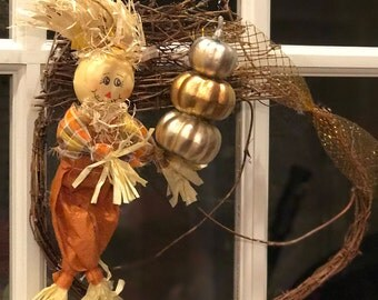 Scarecrow and Pumpkin Wreath