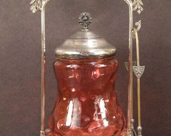 19th c Victorian Silver Cranberry Glass Pickle Castor Coin Spot HOBBS Thumbprint