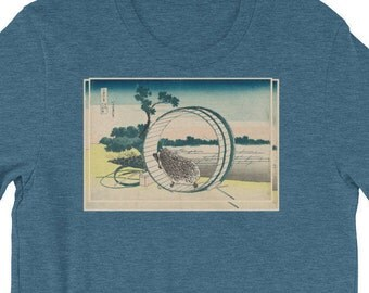 Hedgehog Shirt | Hokusai-inspired Ukiyo-e Art: Hedgehog Wheeling Before Mt. Fuji Short-Sleeve Men's T-Shirt | Women's Hedgehog Shirt