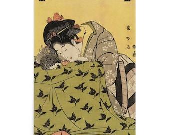 "Japanese Hedgehog Art Poster: Utagawa Kunimasa's 1803 ""Woman with Hedgehog""  Ukiyo-e Style Hedgehog Art Poster"