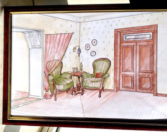 """Set of Two Items Hand Drawing Neoclassic Historical space Traditioanl Style in ink and crayon Original Interior Design 12"""" Italian Furniture"""