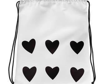 heart bag, drawstrings, gym bag, girlfriend gift, modern design, minimal bag