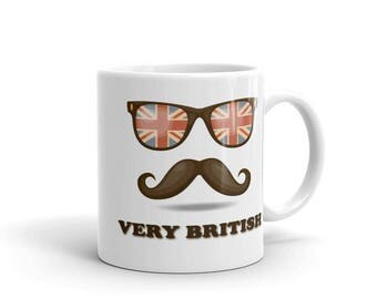 British roots mug | Very British moustache glasses Union Jack mug coffee tea egg nog | English roots | gift for him and her