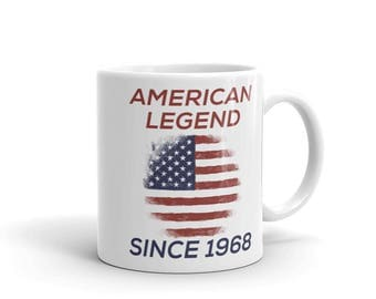 American Legend Since 1968 Patriotic American Birthday Mug, veterans birthday gift, gift for him gift for her, distressed design, hand drawn