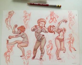 "ORIGINAL sketchbook page, ""dancing"""