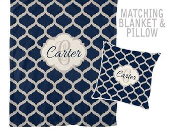 Monogram Blanket Pillow Set, Gift for Sister, Gift for Friend, Personalized Wedding Gift, Family Monogram Initials, Bridal Shower Gift