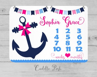 Nautical blanket etsy girl nautical milestone blanket month growth chart baby blanket custom personalized baby girl negle Images