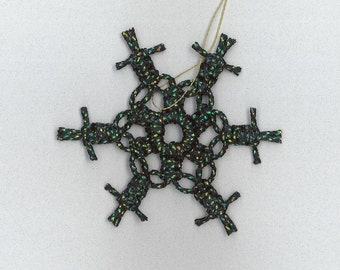 Handmade black with gold/green sparkly craft cord macrame snowflake by TwistedandKnottyUS