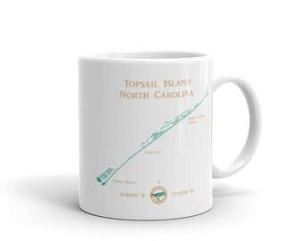 Topsail Island NC coastal map ceramic coffee mug • Topsail Beach • Surf City NC