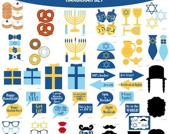 Instant Download Hanukkah Printable Photo Booth Prop Set