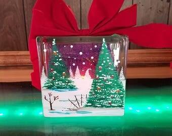 Christmas Tree, Hand-Painted, Decorative Glass block with Lights, Lamp, Snow , Custom,