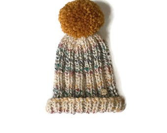 Valentines gift. Pompom hat. Chunky bobble hat. Multi-coloured knitted hat. Westwood Hat