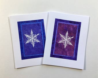 Snowflake blank cards (set of 2): embossed on hand-painted papers, individually handmade, holiday cards, solstice, SKU BLA21061