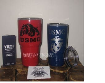 "YETI RAMBLER tumbler cup custom made with ""USMC"" logo,20oz Yeti or 30oz powder coated black,red, white,Armed Forces"