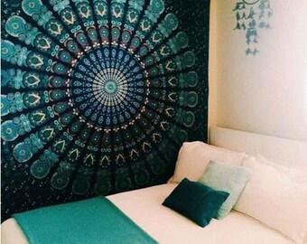 Teal Mandala Tapestry