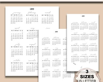 Silver 2018 Year At a Glance Calendar - (Includes US Letter/Half Size/Personal Size)