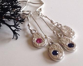 Silver wave drop earrings