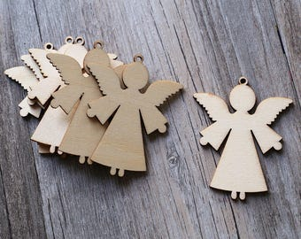 Unfinished wooden Angel shape,plain angel shape for Christmas decorations ,DIY Crafting Wood laser cut gift tags