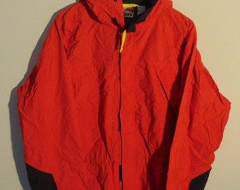 Vintage Marlboro Adventure Team Full Zip Windbreaker Jacket Outerwear Red Rain Coat Pack-able Hiking Red 90s