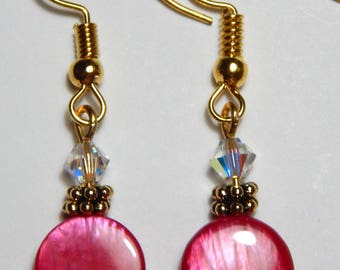 Pink and Crystal Earrings