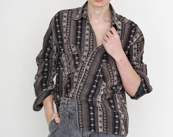 VINTAGE Colourful Striped Button Downs Retro Shirt