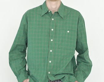 VINTAGE Green Checked Long Sleeve Button Downs Retro Shirt