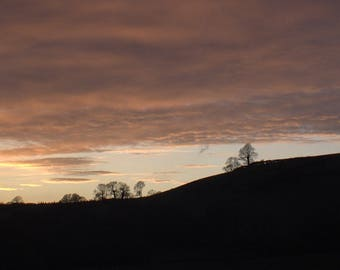 South Wales Sunset Mounted Photograph 22 x 9 (56 x 23cm)