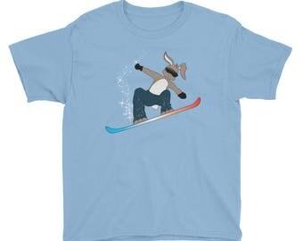 Snowboarding Bunny Rabbit Extreme Winter Sport Youth Short Sleeve T-Shirt