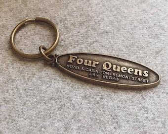 Vintage Brass Las Vegas Four Queens Hotel & Casino Keychain