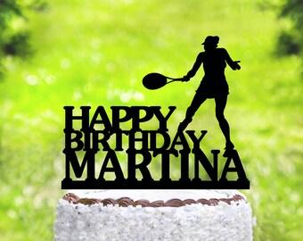 Tennis Cake Topper,Birthday Cake Topper,Female Tennis Player Cake Topper,Custom Cake Topper,Happy Birthday Cake Topper,Topper with Name 2079
