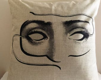 16X16 Canvas Fornasetti Black and White Woman Face with Mask Throw Pillow Cover  OUTDOOR or INDOOR Cover (Pillow insert not included)